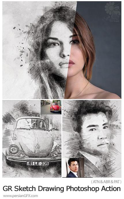 دانلود اکشن فتوشاپ تبدیل تصاویر به نقاشی با مداد به همراه آموزش ویدئویی از گرافیک ریور - GraphicRiver Sketch Drawing Photoshop Action