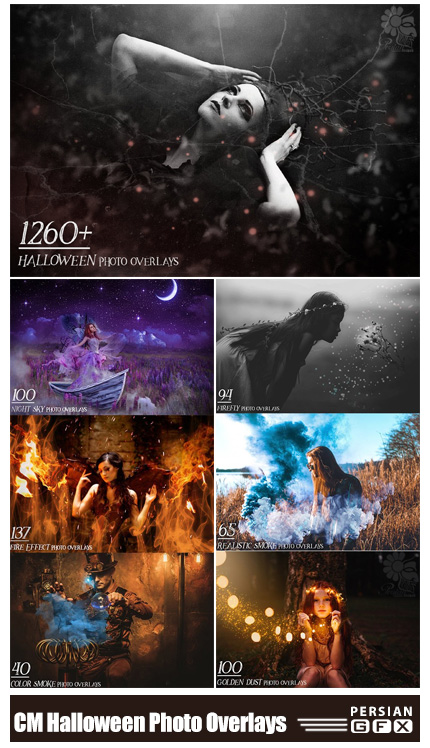 دانلود بیش از 1260 کلیپ آرت وحشتناک کردن تصاویر با افکت های هالووین - CreativeMarket 1260+ Halloween Photo Overlays