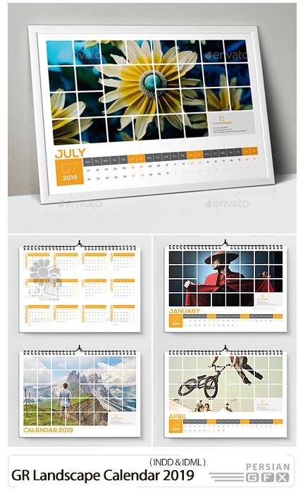 دانلود قالب ایندیزاین تقویم های افقی 2019 از گرافیک ریور - GraphicRiver Landscape Calendar 2019
