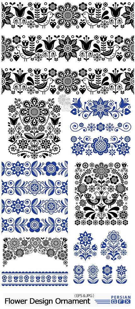 دانلود وکتور حاشیه های گلدار تزئینی متنوع - Scandinavian National Flower Design Ornament
