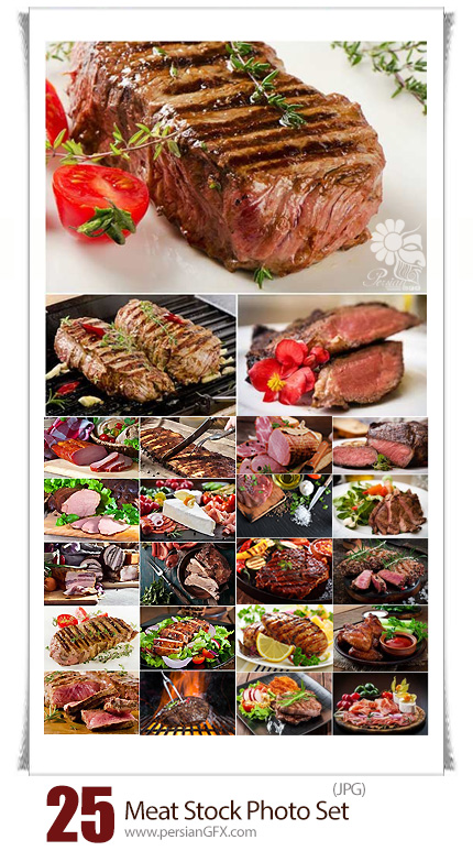 دانلود تصاویر با کیفیت گوشت، گوشت قرمز، استیک، گوشت گوساله و گوشت گریل شده - 25 Meat stock Photo Set