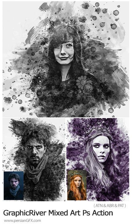 دانلود اکشن فتوشاپ ساخت تصاویر هنری با لکه های جوهر از گرافیک ریور - GraphicRiver Mixed Art Photoshop Action