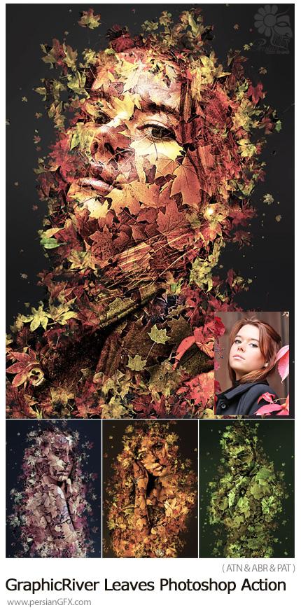 دانلود اکشن فتوشاپ ایجاد افکت برگ های پاییزی بر روی تصاویر به همراه آموزش ویدئویی از گرافیک ریور - GraphicRiver Leaves Photoshop Action