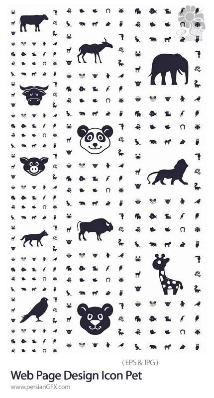 دانلود مجموعه آیکون های وکتور حیوانات متنوع شامل میمون، گاو، مار، پرنده و ... - Web Page design Icon Pet Pig Cow Deer Monkey Snake