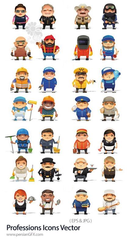 دانلود وکتور آیکون کاراکترهای کارتونی با مشاغل مختلف - Professions Icons Vector