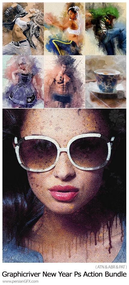 دانلود مجموعه اکشن فتوشاپ با افکت های متنوع سال جدید از گرافیک ریور - Graphicriver New Year Photoshop Action Bundle