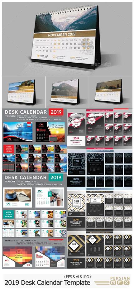 دانلود مجموعه وکتور تقویم های رومیزی 2019 - 2019 Desk Vector Calendar Design Template