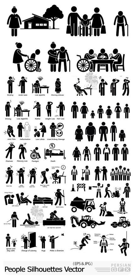 دانلود وکتور سایه مردم با مشاغل و حالت های مختلف - People Silhouettes Vector