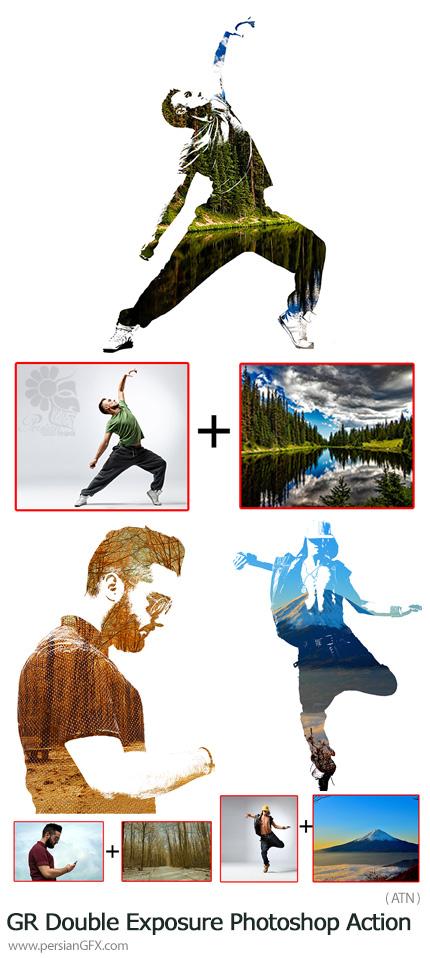 دانلود اکشن فتوشاپ ساخت تصاویر دابل اکسپوژر از گرافیک ریور - GraphicRiver Double Exposure Photoshop Action