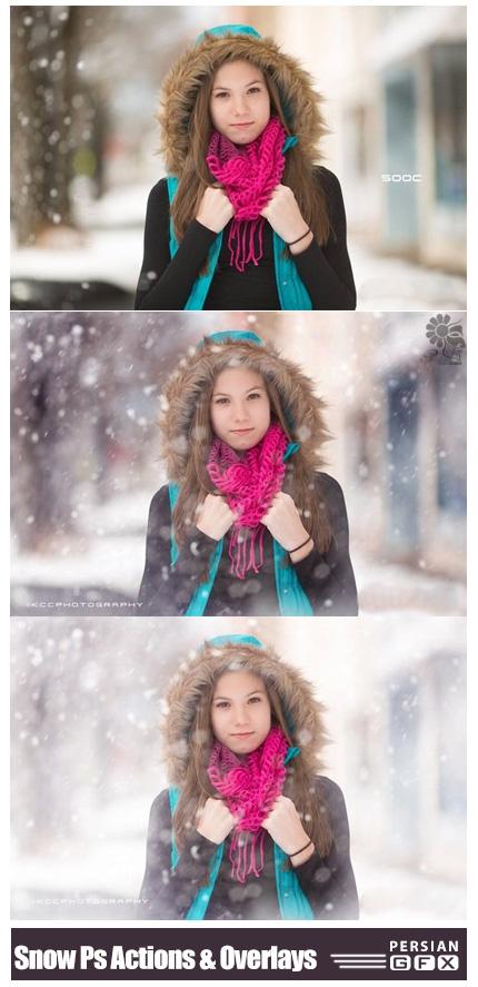 دانلود کلیپ آرت و اکشن فتوشاپ زمستانی با افکت باریدن برف - KCC Snow Day Photoshop Actions And Snow Overlays