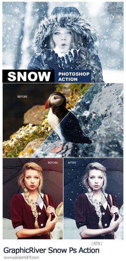 دانلود اکشن فتوشاپ ساخت تصاویر زمستانی با افکت باریدن برف از گرافیک ریور - GraphicRiver Snow Photoshop Action