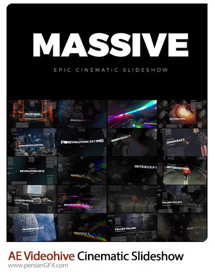 دانلود مجموعه اسلایدشو با افکت های سینمایی متنوع در افترافکت از ویدئوهایو - Videohive Massive Epic Cinematic Slideshow