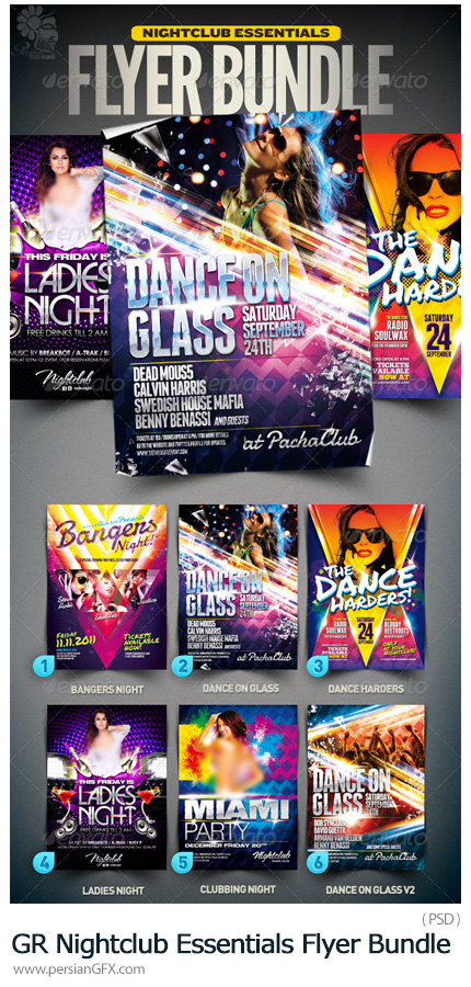 دانلود فلایرهای لایه باز با طرح های متنوع از گرافیک ریور - GraphicRiver Nightclub Essentials Flyer Bundle 001