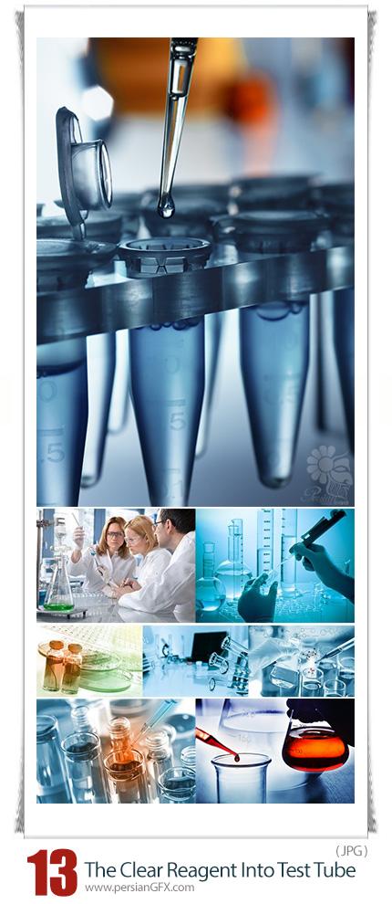 دانلود تصاویر با کیفیت آزمایشگاه و وسایل آزمایشگاهی - Stock Photo Chemist Dropping The Clear Reagent Into Test Tube