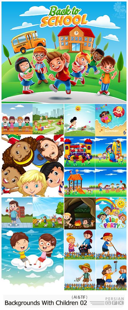 دانلود بک گراند های وکتور کودکانه - Vectors Backgrounds With Children 02