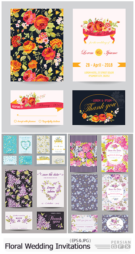 دانلود وکتور کارت های عروسی گلدار متنوع - Floral Wedding Invitations Vector