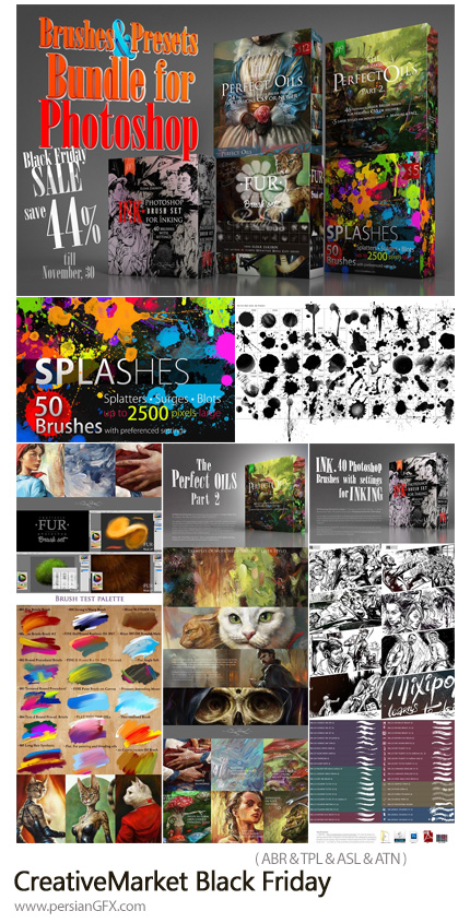 دانلود مجموعه براش فتوشاپ و پریست های آماده متنوع برای طراحی - CreativeMarket Black Friday