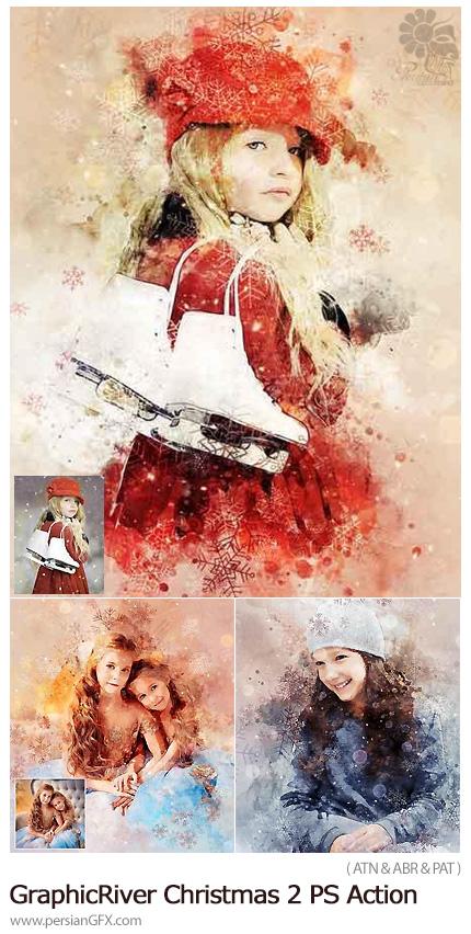 دانلود اکشن فتوشاپ ایجاد افکت کریسمس بر روی تصاویر از گرافیک ریور - GraphicRiver Christmas 2 Photoshop Action