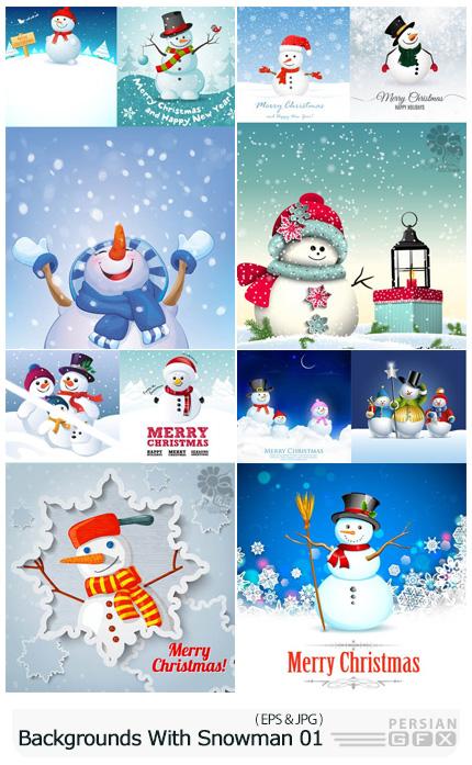دانلود وکتور بک گراند های زمستانی با آدم برفی - Vectors Backgrounds With Snowman 01