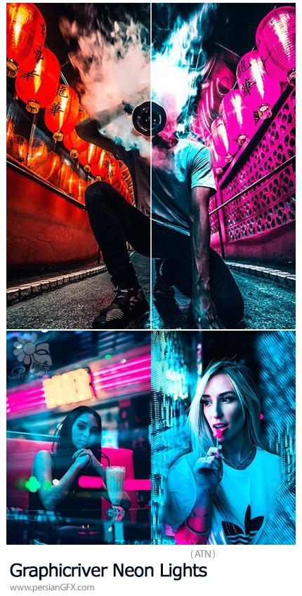دانلود اکشن فتوشاپ ایجاد افکت نورهای نئونی متنوع بر روی تصاویر از گرافیک ریور - Graphicriver Neon Lights