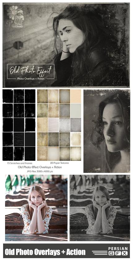 دانلود کلیپ آرت و اکشن فتوشاپ افکت های قدیمی برای تصاویر - CreativeMarket Old Photo Effect Overlays + Action