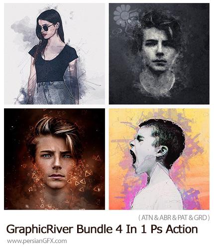 دانلود مجموعه اکشن فتوشاپ با 4 افکت هنری متنوع از گرافیک ریور - GraphicRiver Bundle 4 In 1 Photoshop Action