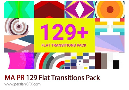 دانلود بیش از 129 ترانزیشن فلت برای پریمیر پرو از موشن اری - Motion Array 129 Flat Transitions Pack Premiere Pro Templates