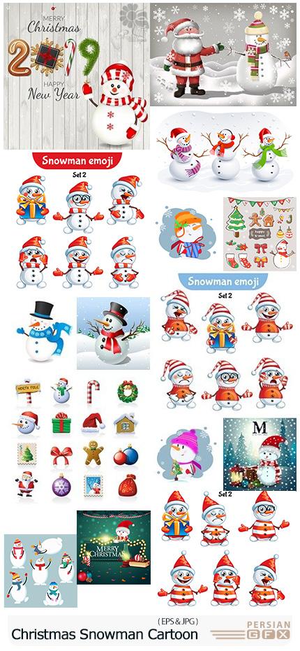 دانلود وکتور آدم برفی های کارتونی برای طرح های زمستانی - Christmas Cheerful Snowman Cartoon Collection Illustration