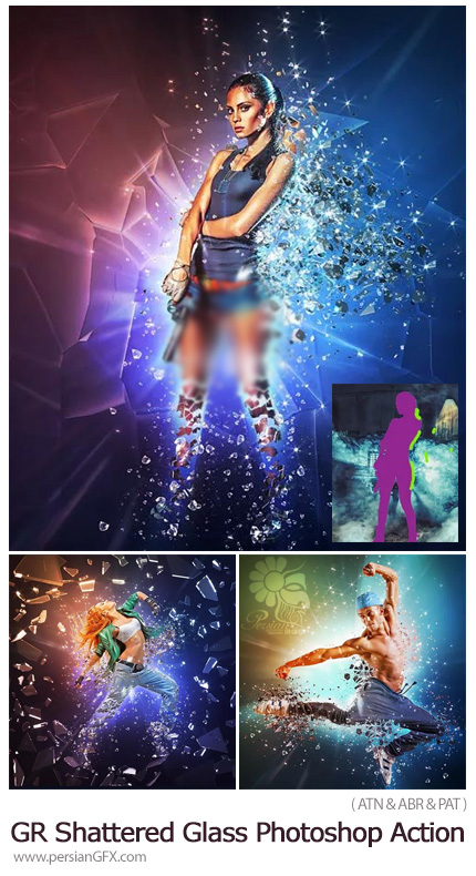 دانلود اکشن فتوشاپ ایجاد افکت خرده شیشه های درخشان پراکنده بر روی تصاویر به همراه آموزش ویدئویی از گرافیک ریور - GraphicRiver Fragmentation Shattered Glass Photosho