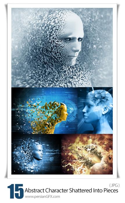 دانلود تصاویر با کیفیت کاراکترهای انتزاعی با افکت پراکندگی اشکال - Abstract Character Shattered Into Pieces