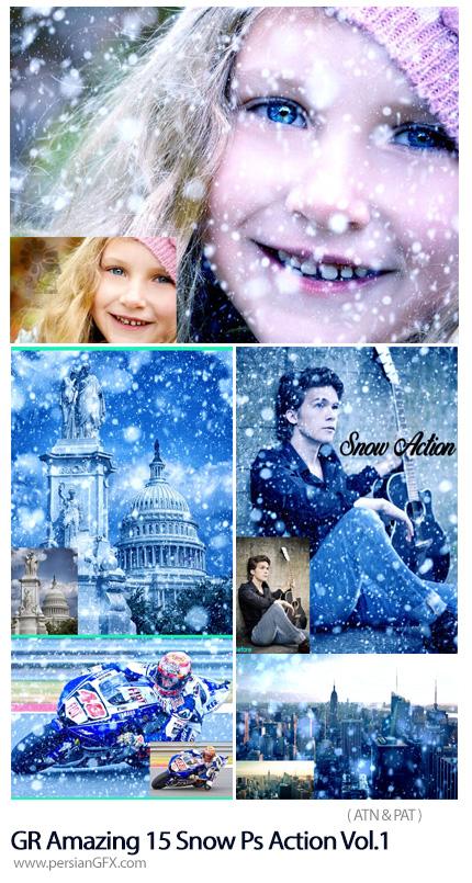 دانلود اکشن فتوشاپ ساخت تصاویر زمستانی با 15 افکت برفی متنوع به همراه آموزش ویدئویی از گرافیک ریور - Graphicriver Amazing 15 Snow Photoshop Action Vol.1