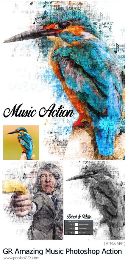 دانلود اکشن فتوشاپ ساخت تصاویر هنری با افکت نت های موسیقی به همراه آموزش ویدئویی از گرافیک ریور - GraphicRiver Amazing Music Photoshop Action