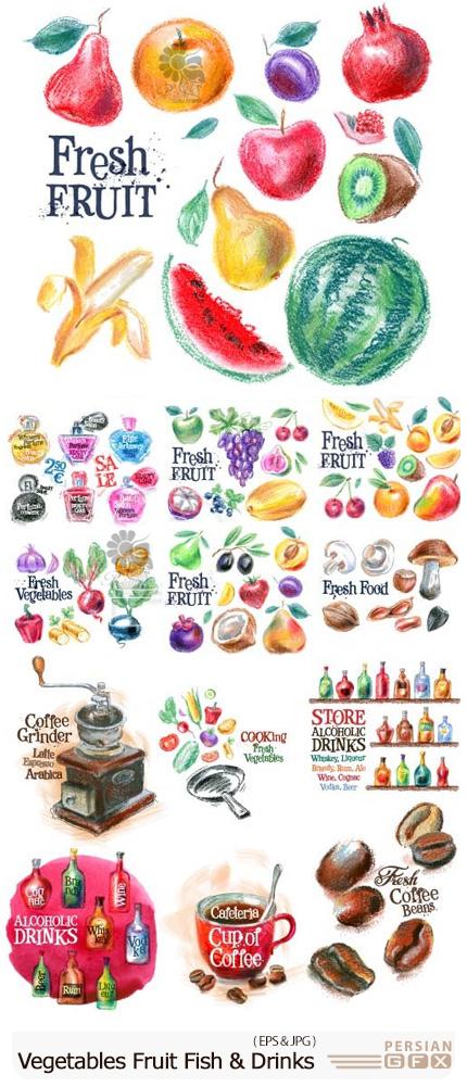 دانلود مجموعه وکتور نقاشی مواد غذایی متنوع شامل سبزیجات، میوه، ماهی و نوشیدنی - Vegetables, Fruit, Fish And Drinks