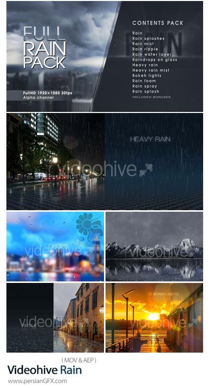 دانلود مجموعه افکت های ویدئویی باران از ویدئوهایو - Videohive Rain