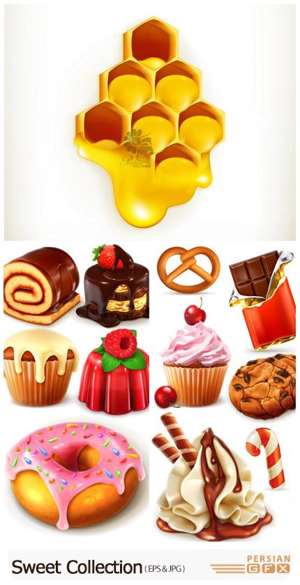 دانلود وکتور کیک، شیرینی، بستنی، عسل و ... - Sweet Collection