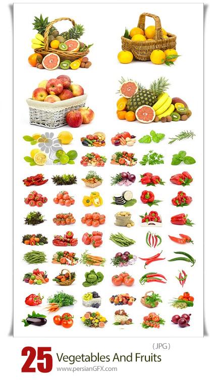 دانلود تصاویر با کیفیت میوه و سبزیجات در بک گراند سفید - Vegetables And Fruits On White Background