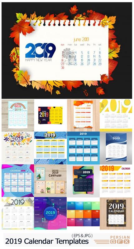دانلود 18 قالب وکتور تقویم های دیواری و رومیزی 2019 - 2019 Calendar Vector Templates Collection