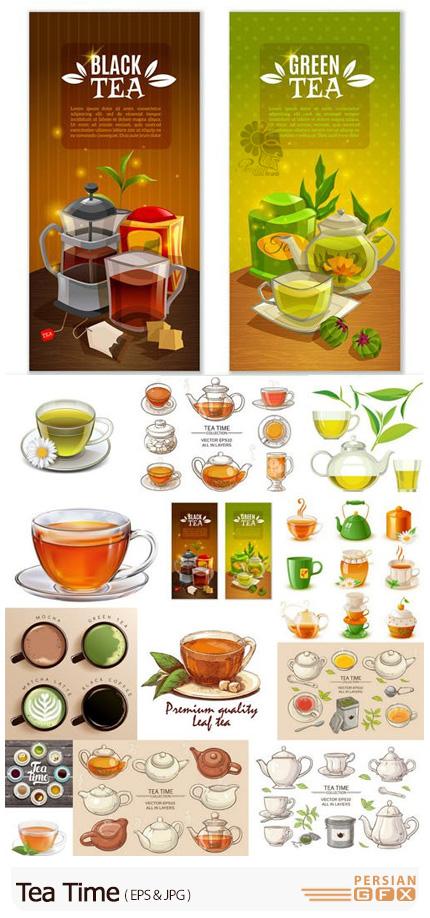 دانلود وکتور کارتونی ساعت چایی - Tea Time