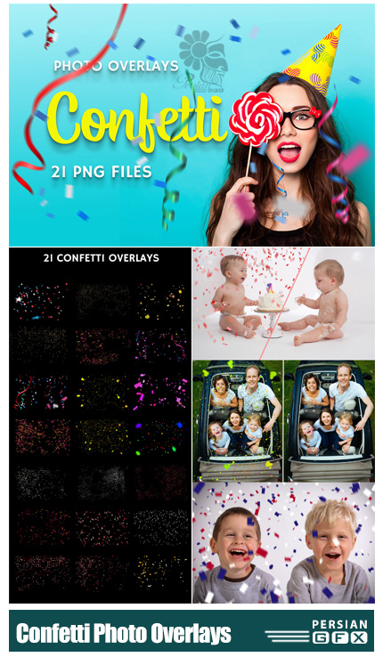 دانلود 21 کلیپ آرت کاغذ رنگی های تزئینی برای جشن ها به همراه آموزش ویدئویی - CreativeMarket 21 Confetti Photo Overlays