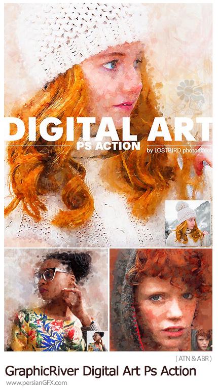 دانلود اکشن فتوشاپ تبدیل تصاویر به نقاشی هنری دیجیتالی به همراه آموزش ویدئویی از گرافیک ریور - GraphicRiver Digital Art Photoshop Action