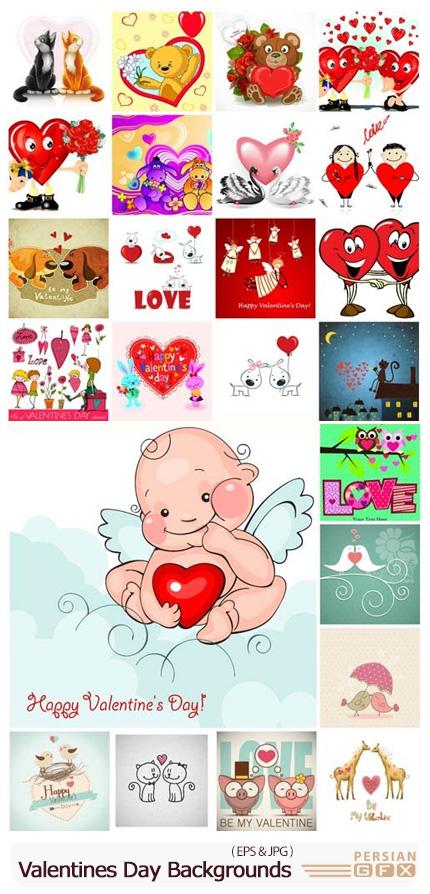 دانلود مجموعه وکتور بک گراندهای عاشقانه برای روز ولنتاین - Valentines Day Romantic Backgrounds Hearts