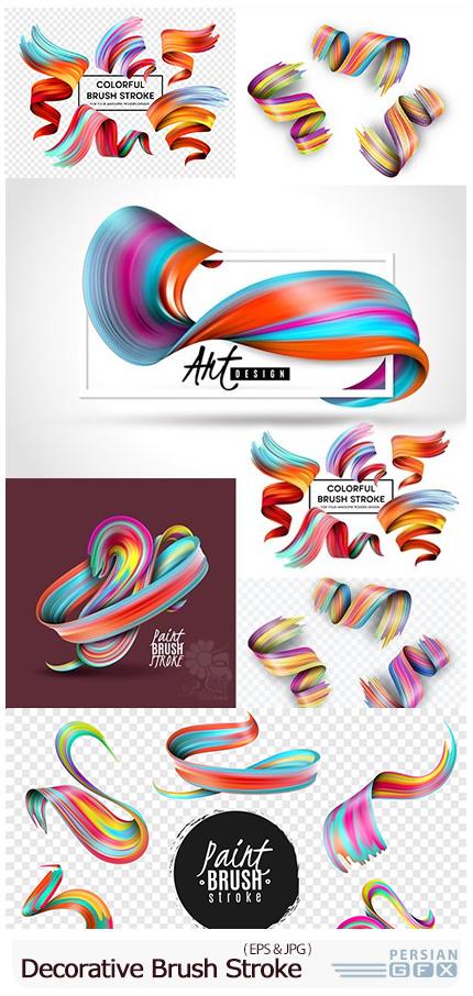 دانلود وکتور خطوط تزئینی رنگارنگ - Creative Colourful Effect Decorative Brush Stroke