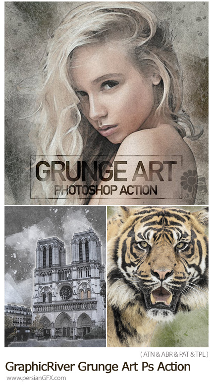 دانلود اکشن فتوشاپ ساخت تصاویر هنری با افکت گرانج به همراه آموزش ویدئویی از گرافیک ریور - GraphicRiver Grunge Art Photoshop Action