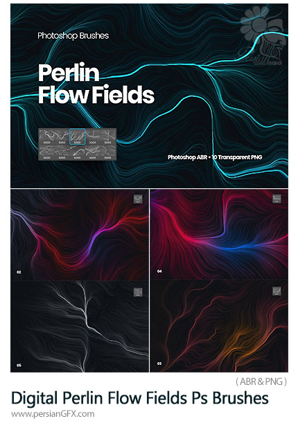 دانلود براش فتوشاپ جریان الکتریسیته - Digital Perlin Flow Fields Photoshop Brushes