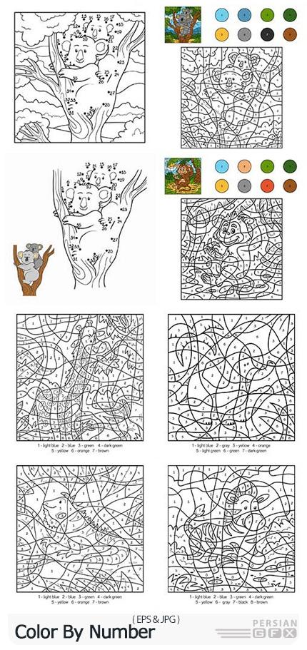 دانلود وکتور الگوهای رنگ آمیزی با شماره - Color By Number