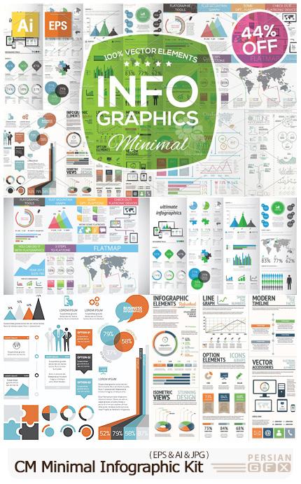 دانلود کیت ساخت نمودارهای اینفوگرافیگی مینیمال - CM Minimal Infographic Kit