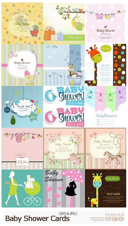 دانلود وکتور طرح های کارتونی کودکانه برای کارت پستال - Baby Shower Cards