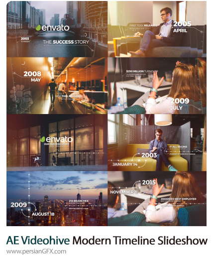 دانلود 2 قالب اسلایدشو تاریخچه شرکت در افترافکت از ویدئوهایو - Videohive Modern And Elegant Timeline Slideshow