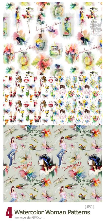 دانلود پترن های با کیفیت بالا با طرح های فانتزی زنانه - Watercolor Woman Patterns