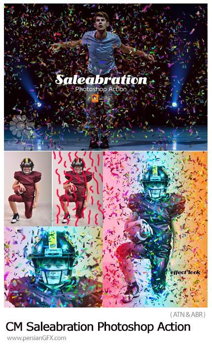 دانلود اکشن فتوشاپ ایجاد افکت کاغذ رنگی های تزئینی بر روی تصاویر - CreativeMarket Saleabration Photoshop Action